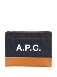 A.P.C. Logo Denim Zipped Clutch 60