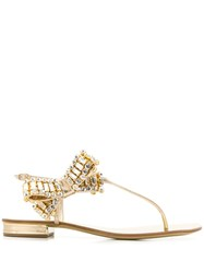 Casadei Embellished Bow Tie Sandals Gold