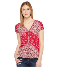 Lucky Brand Bali Ditsy Top Red Multi Women's Short Sleeve Pullover