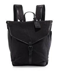 Cole Haan Leather Trim Canvas Messenger Backpack Black