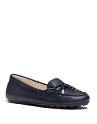 Michael Michael Kors Daisy Leather Moc Loafers Navy Blue
