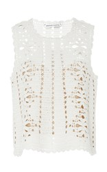Spencer Vladimir White Lemonade Crochet Tank
