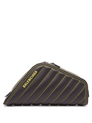 Balenciaga Car Quilted Leather Clutch Black Yellow