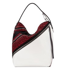 Proenza Schouler Medium Woven Fabric Leather Hobo Bag Red Optic White
