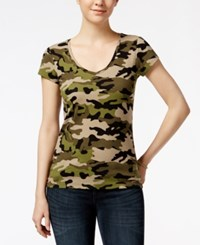 Energie Juniors' Mila Printed V Neck T Shirt Couture Camo