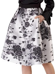 Closet Floral Pleated Skirt Black White