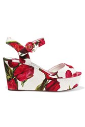 Dolce And Gabbana Floral Print Brocade Wedge Sandals Red