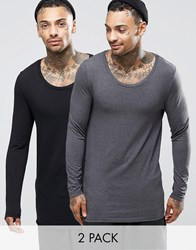 Asos Longline Muscle Long Sleeve T Shirt With Scoop Neck 2 Pack Save 20 Multi