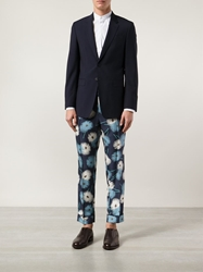 Valentino Floral Print Trousers Blue