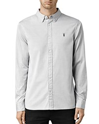 Allsaints Redondo Slim Fit Button Down Shirt Light Gray