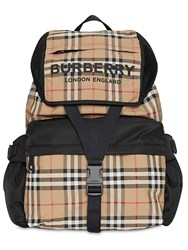 Burberry Wilfin Check Print Nylon Backpack Archive Beige