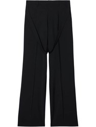 Burberry Strap Detail Wool Mohair Tailored Trousers Black