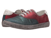 Marc Jacobs Metallic Suede Low Top Blue Red Men's Lace Up Casual Shoes