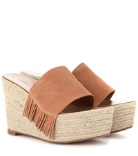 Chloe Suede Wedge Espadrilles Brown