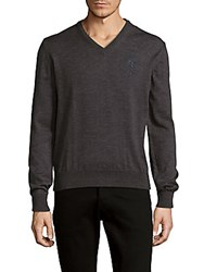 Versace Solid Wool V Neck Sweater
