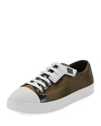Prada Linea Rossa Satin Lace Up Two Tone Low Top Sneaker Green