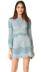 Wayf Dream Lover Lace Mini Dress Blue