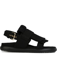 Marni 'Fussbett' With Staggered Double Fringe Sandals Black