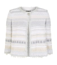 St. John Merengue Knit Fringe Jacket Female White