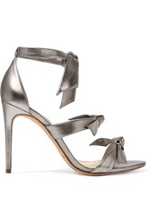 Alexandre Birman Lolita Bow Embellished Metallic Leather Sandals Silver