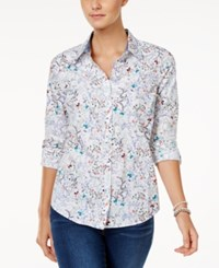 Charter Club Petite Cotton Butterfly Print Roll Tab Shirt Only At Macy's Bright White Combo