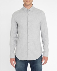 M.Studio Marled Grey Auguste Extra Slim Fit Flannel Shirt With Classic Collar