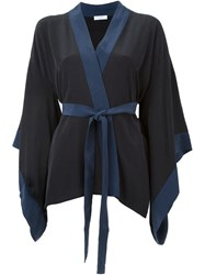 Equipment Contrast Trim Kimono Black