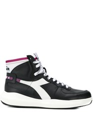 Diadora Contrasting Panel Hi Top Sneakers Black