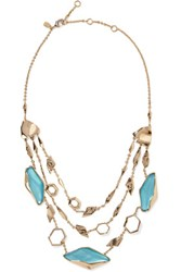Alexis Bittar Gold Tone Stone Necklace Turquoise