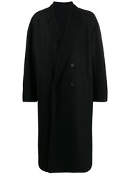 Ann Demeulemeester Oversized Double Button Coat Black