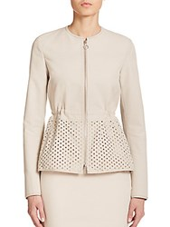 Akris Punto Zip Front Perforated Peplum Jacket Canvas