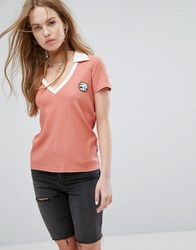 Rvca Polo Top With Contrast Collar And V Neck In Rib Dusty Rose Red