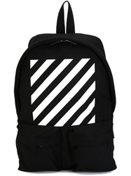 Off White Striped Backpack Black