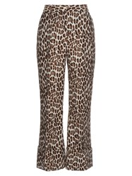 Stella Mccartney Leopard Print Wool Blend Cropped Trousers