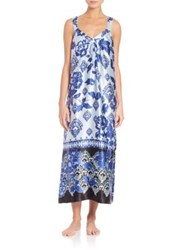 Oscar De La Renta Sleepwear Oscar Signature Long Printed Satin Gown
