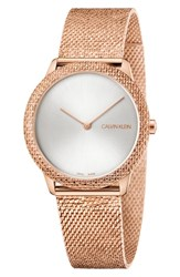 Calvin Klein Minimal Mesh Strap Watch 35Mm Rose Gold Silver