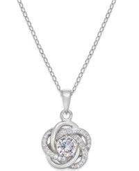 Macy's Cubic Zirconia Love Knot Pendant Necklace In Sterling Silver