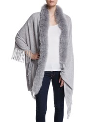 Cashmere Shawl With Fur Trim Grey Magaschoni Stone