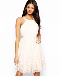 Little Mistress Skater Dress With Necklace And Flower Embellishment Nude