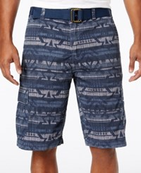 American Rag Men's Geo Print Cargo Shorts With D Ring Belt Only At Macy's Storm Cloud
