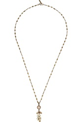 Isabel Marant Brass Crystal And Stone Necklace Brown