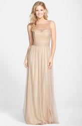 Women's Amsale Lace And Tulle Gown