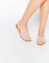 Pieces Evey Suede Two Part Flat Sandals Pink