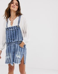One Teaspoon Dungaree Dress In Stripe With Distressing Blue