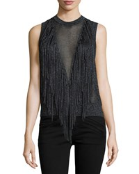 Torn By Ronny Kobo Ronja Sleeveless Sweater W Fringe Black