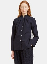 Renli Su Lace Back Band Collared Shirt Navy