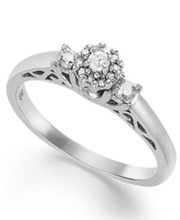 Macy's Certified Round Cut Diamond Engagement Ring In Sterling Silver 1 5 Ct. T.W.