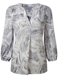 Pure Collection Esther Feminine Notch Neck Blouse Marble Print