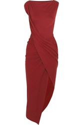 Vivienne Westwood Anglomania Vian Draped Asymmetric Stretch Jersey Midi Dress Merlot