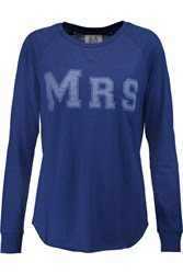 Zoe Karssen Mrs Printed Cotton And Modal Blend Top Blue